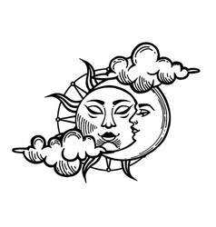 Moon and sun tattoo with face stylized vector