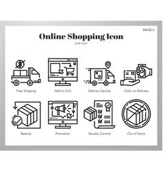 online shopping icons line pack vector image