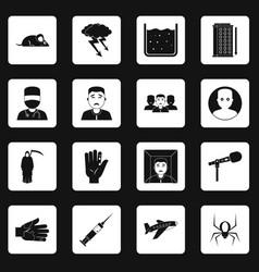Phobia symbols icons set squares vector