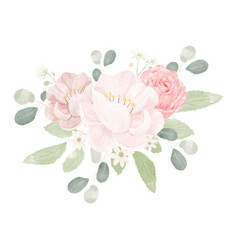 Pink pastel watercolor rose and peony flower vector