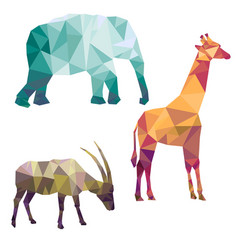 polygonal silhouettes african animals vector image