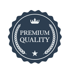 premium quality flat label on white background vector image