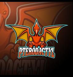 Pterodactyl esport logo mascot design vector