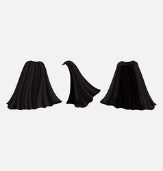 Realistic black cloak set isolated vector