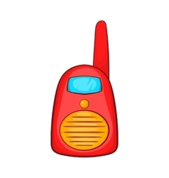 Red portable handheld radio icon cartoon style vector image