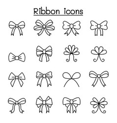 ribbon bow tie icon set in thin line style vector image