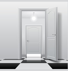 rooms with opened and closed doors on the glossy vector image