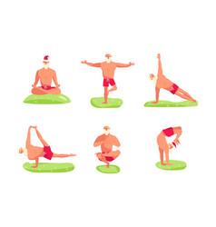 Santa claus in yoga pose vector