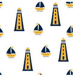 seamless pattern lighthouse and sailboat vector image