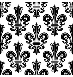 Seamless pattern of black royal lilies vector image