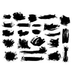 Set bushy black brushstrokes vector