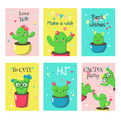 set of cards with cute funny cactuses vector image