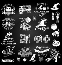 Set of halloween party concept and design elements vector