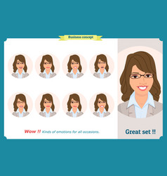 set of woman expression isolated on white flat vector image