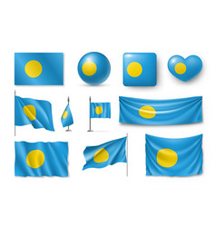 Set palau realistic flags banners banners vector