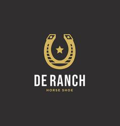 shoe horse cowboy ranch vintage logo design vector image