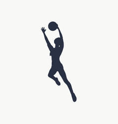 silhouette of flying lady with ball vector image