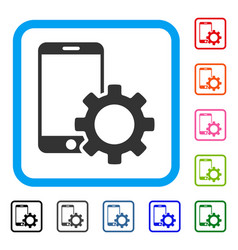 Smartphone configuration gear framed icon vector