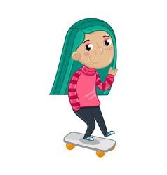 Smiling little girl riding on skateboard vector