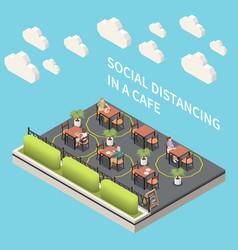 Social distancing cafe composition vector