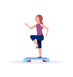 Sporty woman doing squats on step platform girl vector