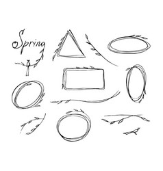 spring theme set frames different shapes vector image