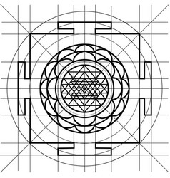 Sree yantra sacred geometry coloring book vector