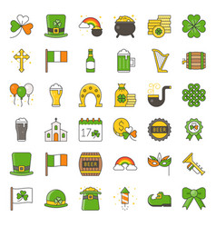 st patrick day related filled icon set vector image