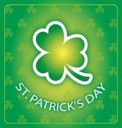 st patricks day card with shamrock 1 vector image