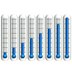 Thermometer with blue liquid vector