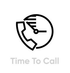time to call icon editable line vector image
