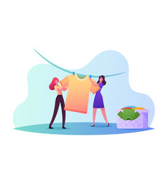 Tiny female characters drying wet clothesyoung vector