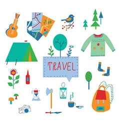 Travel and tourism icons set with funny design vector image