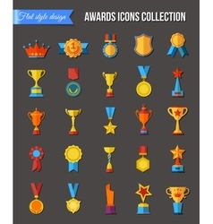Trophy icons flat set of medallion success award vector