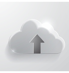 Upload cloud glass icon vector