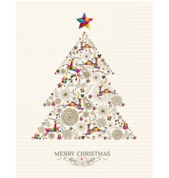 Vintage Christmas tree greeting card vector