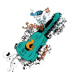 Vintage t-shirt design with guitar vector