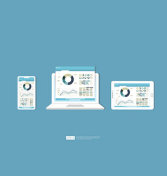 Web statistics analytic charts on laptop device vector