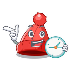 With clock homemade funny and warm beanie cartoon vector