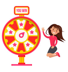 woman winning in fortune wheel casino vector image