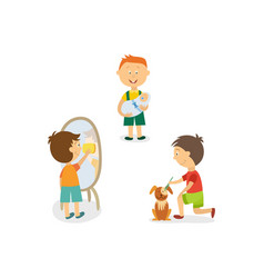 boy babysitting cleaning house grooming his dog vector image