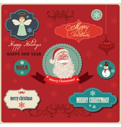christmas labels elements vector image