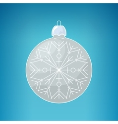 Christmas Silver Ball with Snowflake vector image