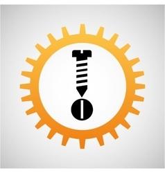construction gear icon screw bolt vector image