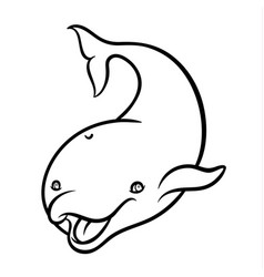 cute cartoon dolphin isolated on white background vector image vector image