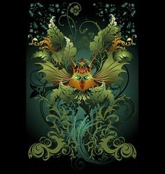 floral dragon vector image