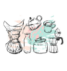 hand drawn graphic realistic set with vector image vector image