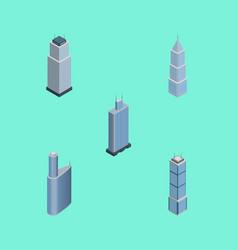Isometric skyscraper set of apartment business vector