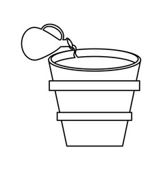 miracle water winr jar and pot wooden outline vector image vector image