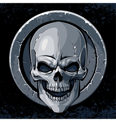 Skull in stone vector image vector image
